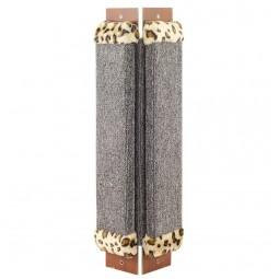 Когтеточка из ковролина №1 угловая с оторочкой из меха, 200*30*530мм
