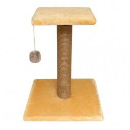 """Когтеточка """"Стойка № 6"""" с полочкой и игрушкой однотонная, 360*360*450мм"""