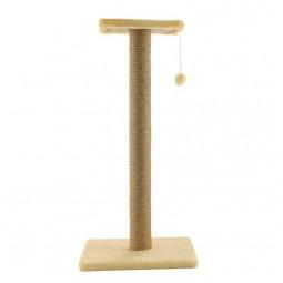 """Когтеточка """"Стойка №14"""" длинная с полочкой и игрушкой однотонная, 360*360*760мм"""